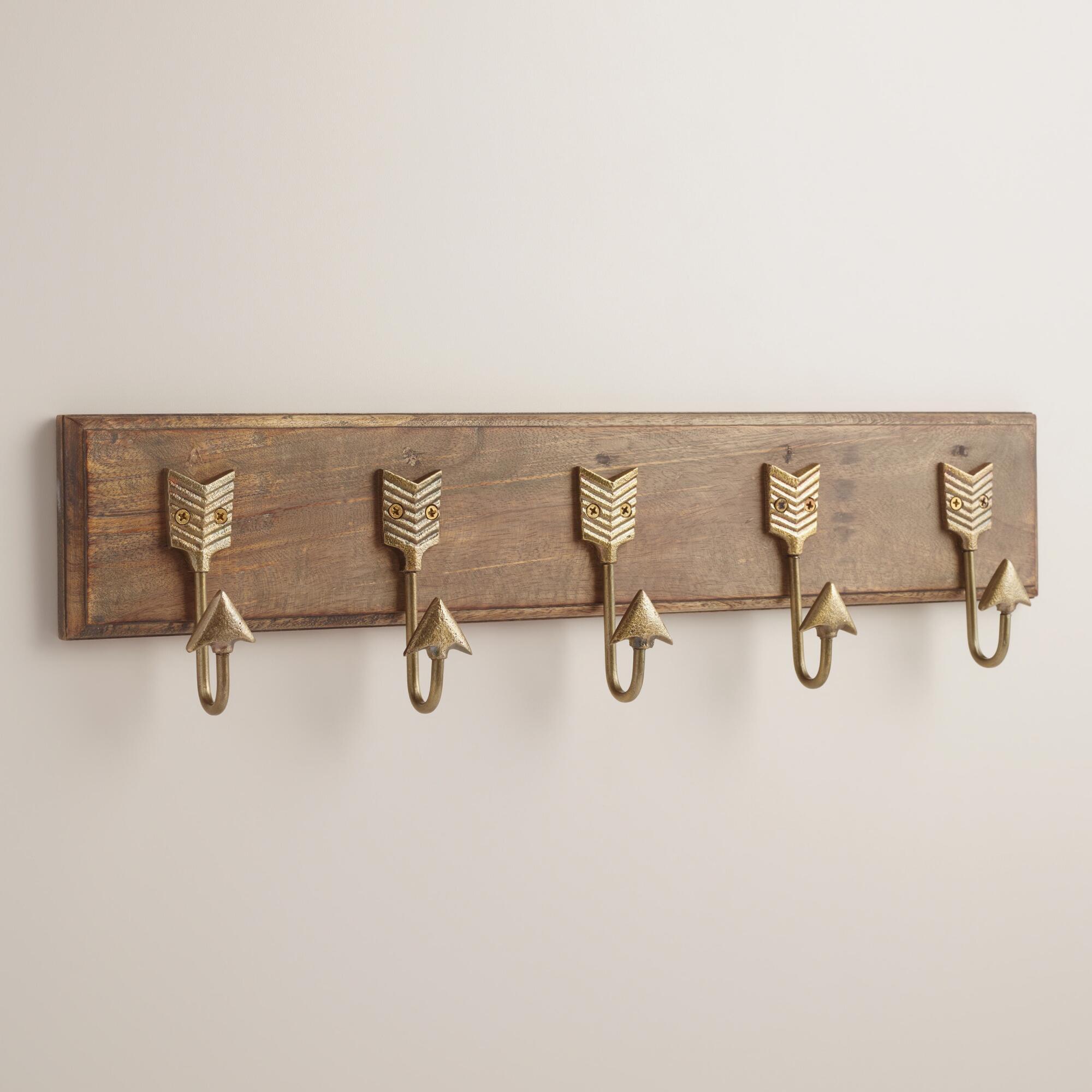 Brass Metal Arrow 5 Hook Wall Storage | World Market