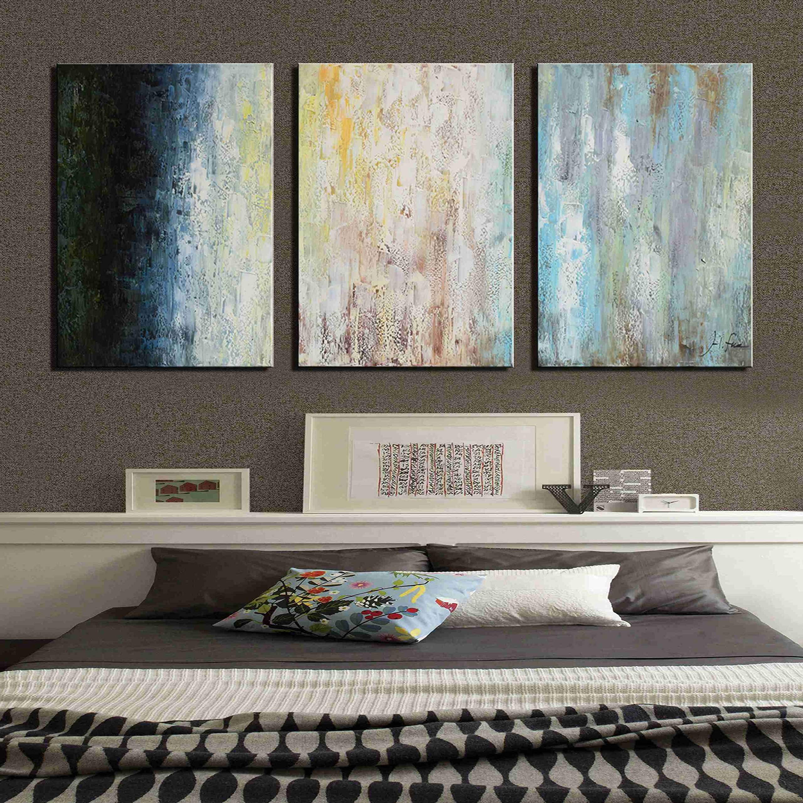 ARTLAND Hand-painted 24x48-inch 'Indifferent Smile'3-piece Gallery-wrapped Abstract Oil Painting on Canvas Wall Art Set by ARTLAND