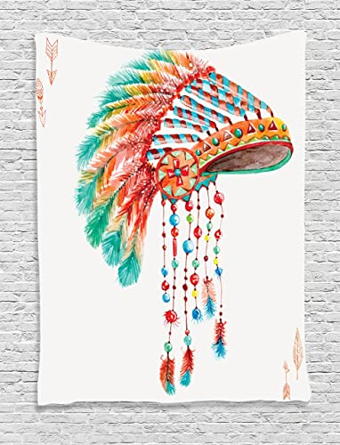 Ambesonne American Tapestry, Watercolor Tribal Native Chief Headdress with Feathers Beads Arrow Figures Print, Wall Hanging for Bedroom Living Room Dorm Decor, 40 X 60 , Orange Blue