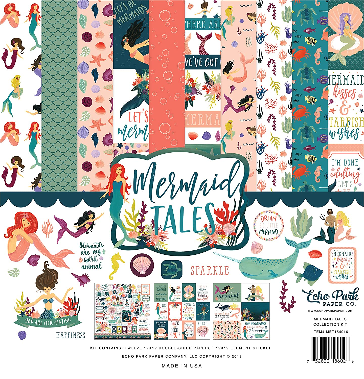 Echo Park Paper Company MET154016 This Mermaid Tales Collection Kit, Teal, Coral, Purple, Sea Foam, Sand, Teal Teal
