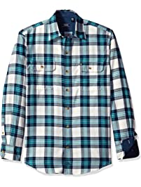 Izod Men's Long Sleeve Saltwater Twill Easy-Care Plaid Shirt