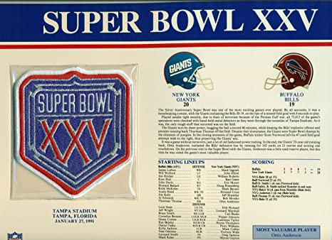 5dfb0a151 Image Unavailable. Image not available for. Color  Super Bowl XXV Official Patch  New York Giants ...