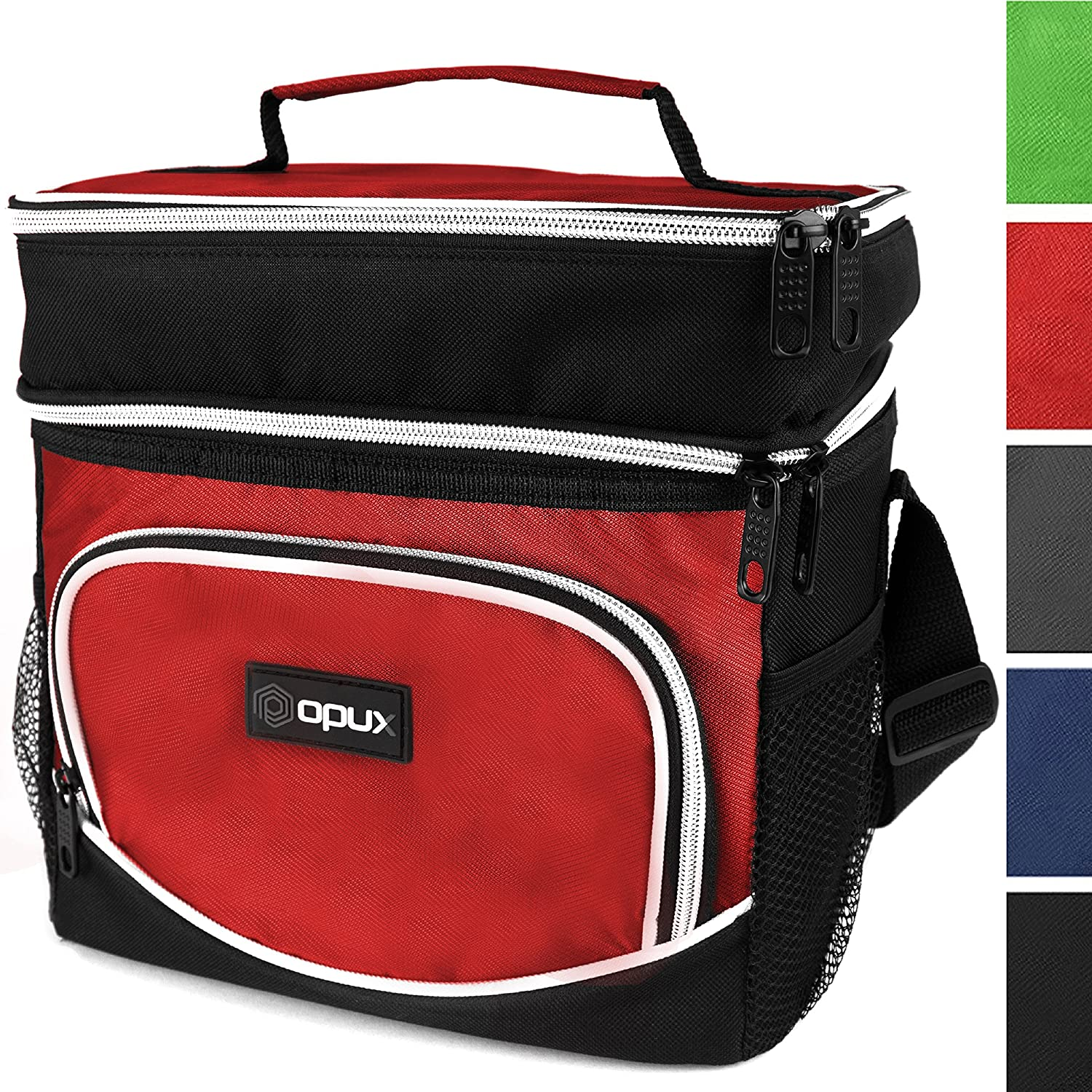 OPUX Premium Thermal Insulated Dual Compartment Lunch Bag for Men   Double Deck Reusable Lunch Tote with Shoulder Strap, Bottle Holder, Soft Leakproof Liner   Medium Lunch Box for Work, Office (Black)