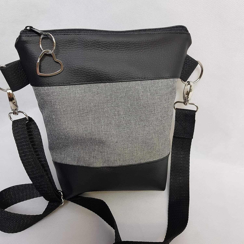Kleine Handtasche Hope schwarz rot Anker Umh/ängetasche Tasche mit Anh/änger Kunstleder