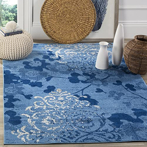 Safavieh Adirondack Collection ADR114F Light Blue and Dark Blue Contemporary Chic Damask Area Rug 4 x 6