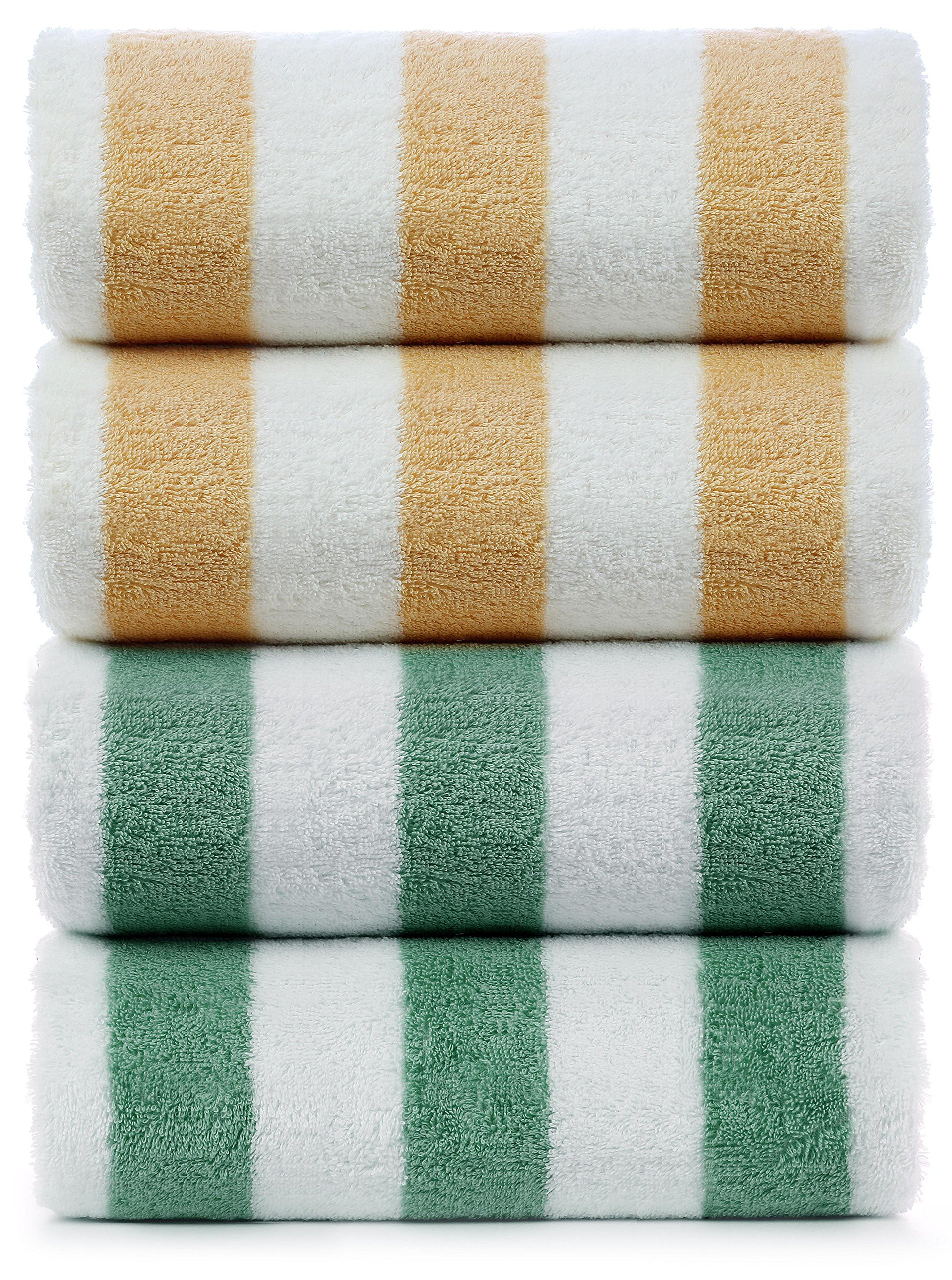 INDULGE Large Beach and Pool Towel, Cabana Stripe, 100% Turkish Cotton (30x60 inches, Set of 4, Salmon + Green)
