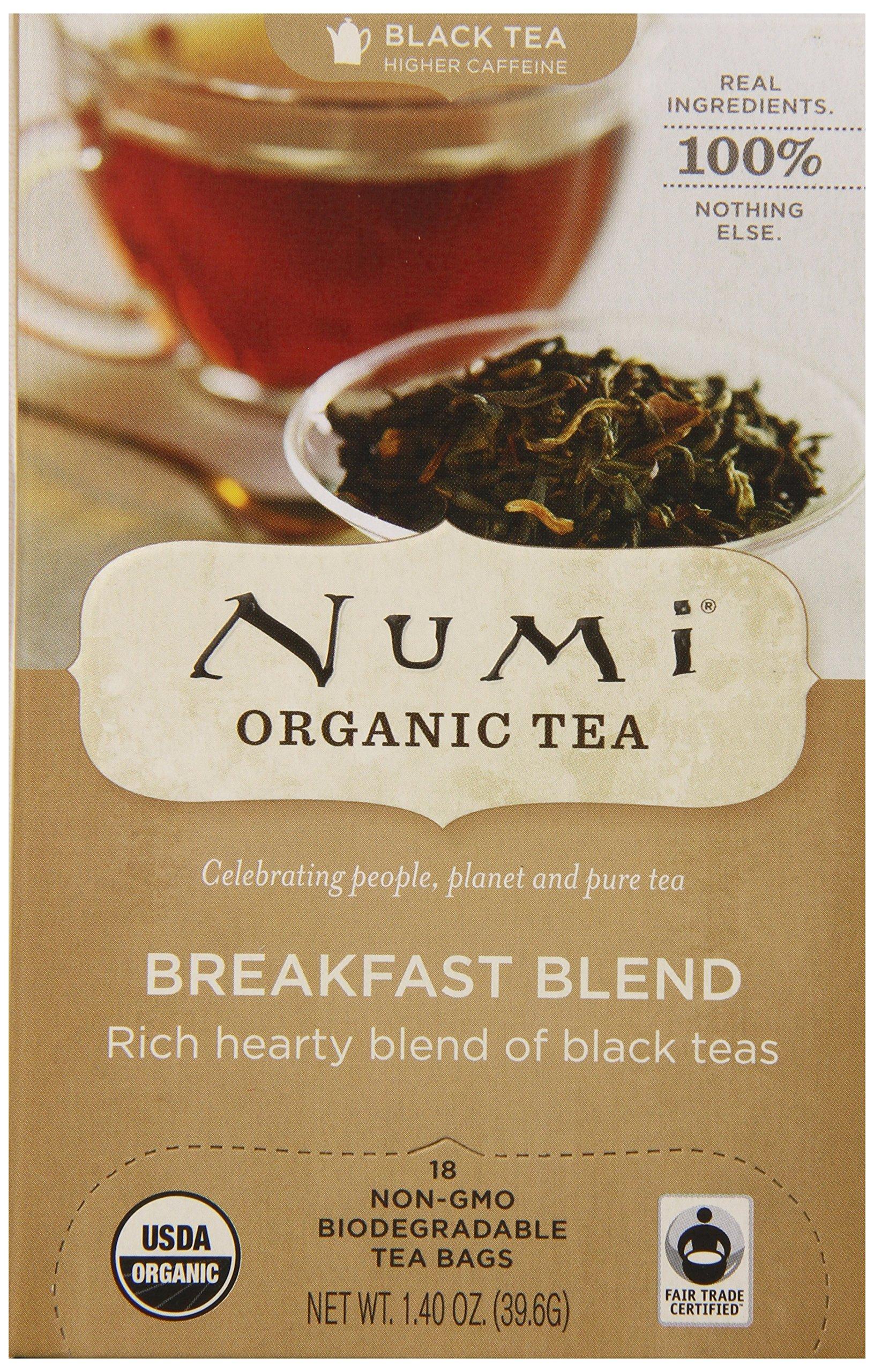 Numi Organic Tea Fair Trade Breakfast Blend  - Morning Rise - Full Leaf Black Tea in Teabags, 18-Count Box (Pack of 6)