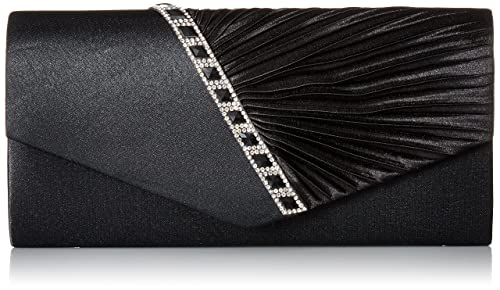 Damara Womens Pleated Crystal-Studded Satin Handbag Evening Clutch,Black