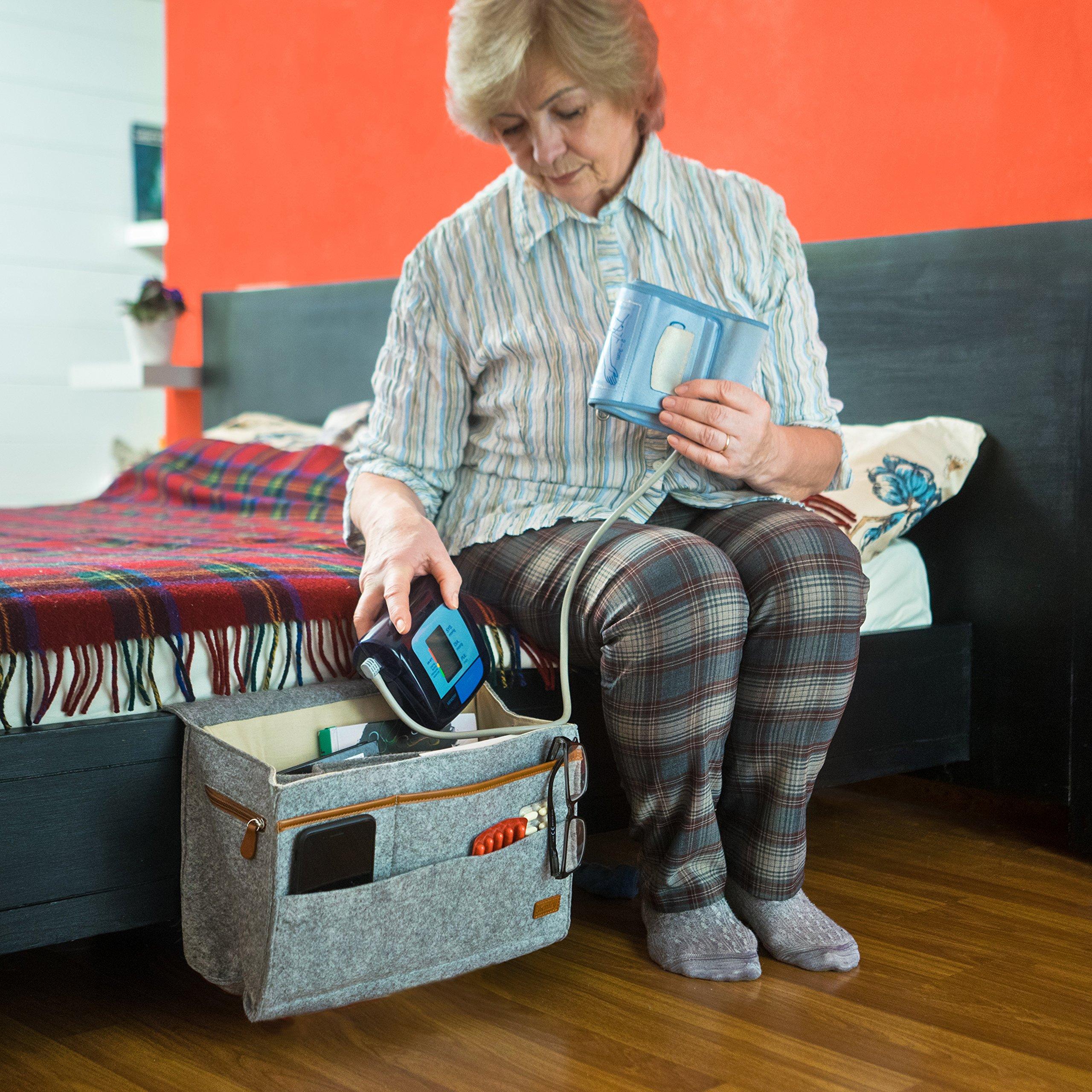 Kenley Bedside Caddy Bed Skirt Storage 7 Pocket Organizer For