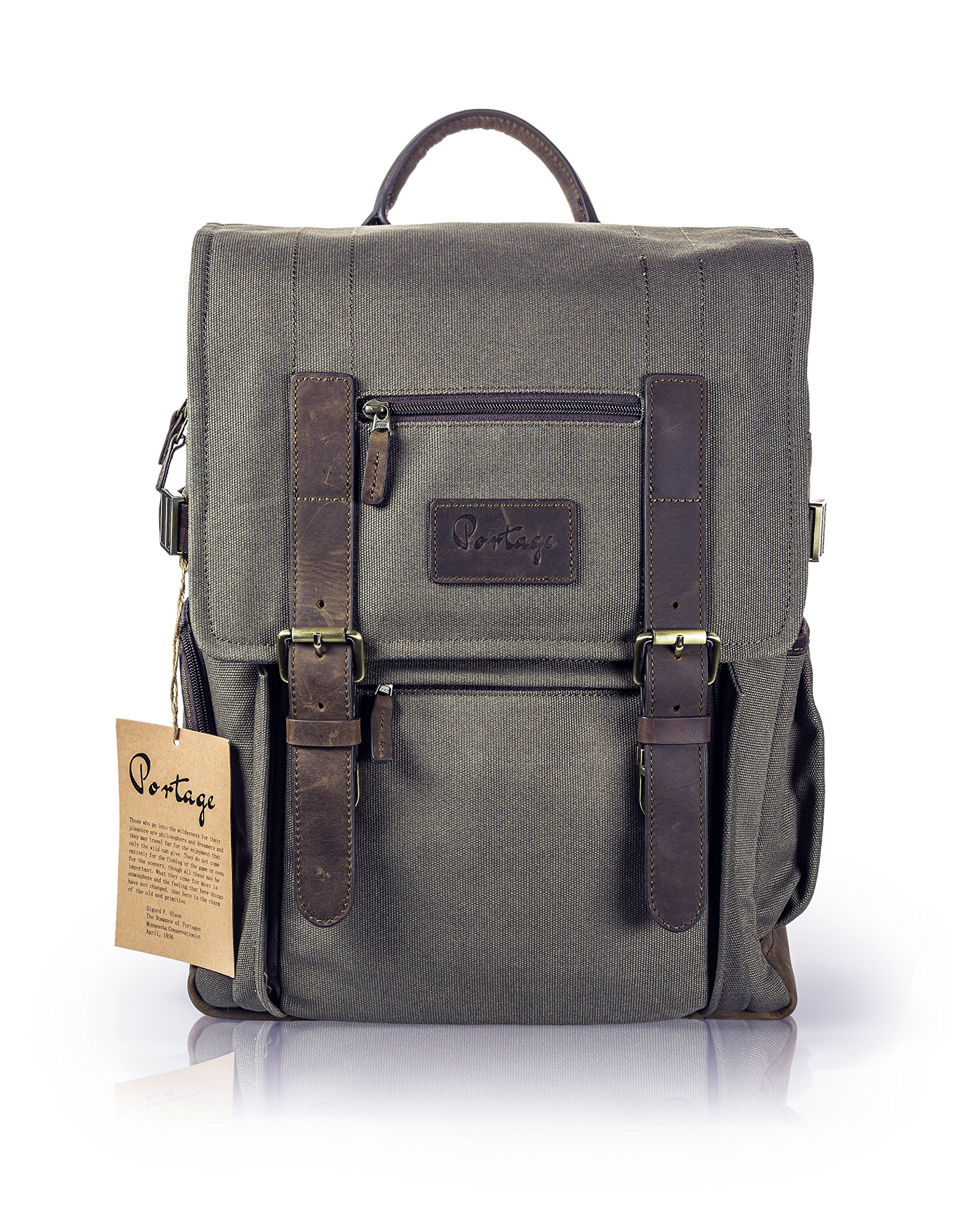 The Kenora Backpack by Portage GEN3 W/ SIDE ACCESS! - Camera, Travel, Gear, Laptop Bag - Genuine Leather and Waxed Canvas by Portage Supply Co.
