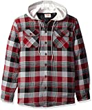 Wrangler Authentics Men's Long Sleeve Quilted Line Flannel Jacket with Hood, Biking Red with Gray hood, S