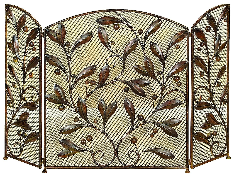 Benzara Leaves and Beads Design Metal Fire Screen, Bronze BM06173