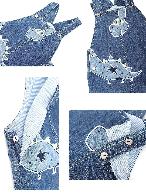 Baby Jungen M/ädchen Jeans Latzhose Strampler Weiche Baumwolle Denim Hose D/ünn f/ür Fr/ühling Sommer Cartoon Dinosaurier Pattern Gr/ö/ße 56//62//68//74//80//86