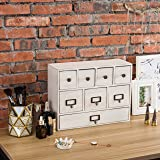 MyGift 13-Inch Weathered Vintage White Wood Desktop