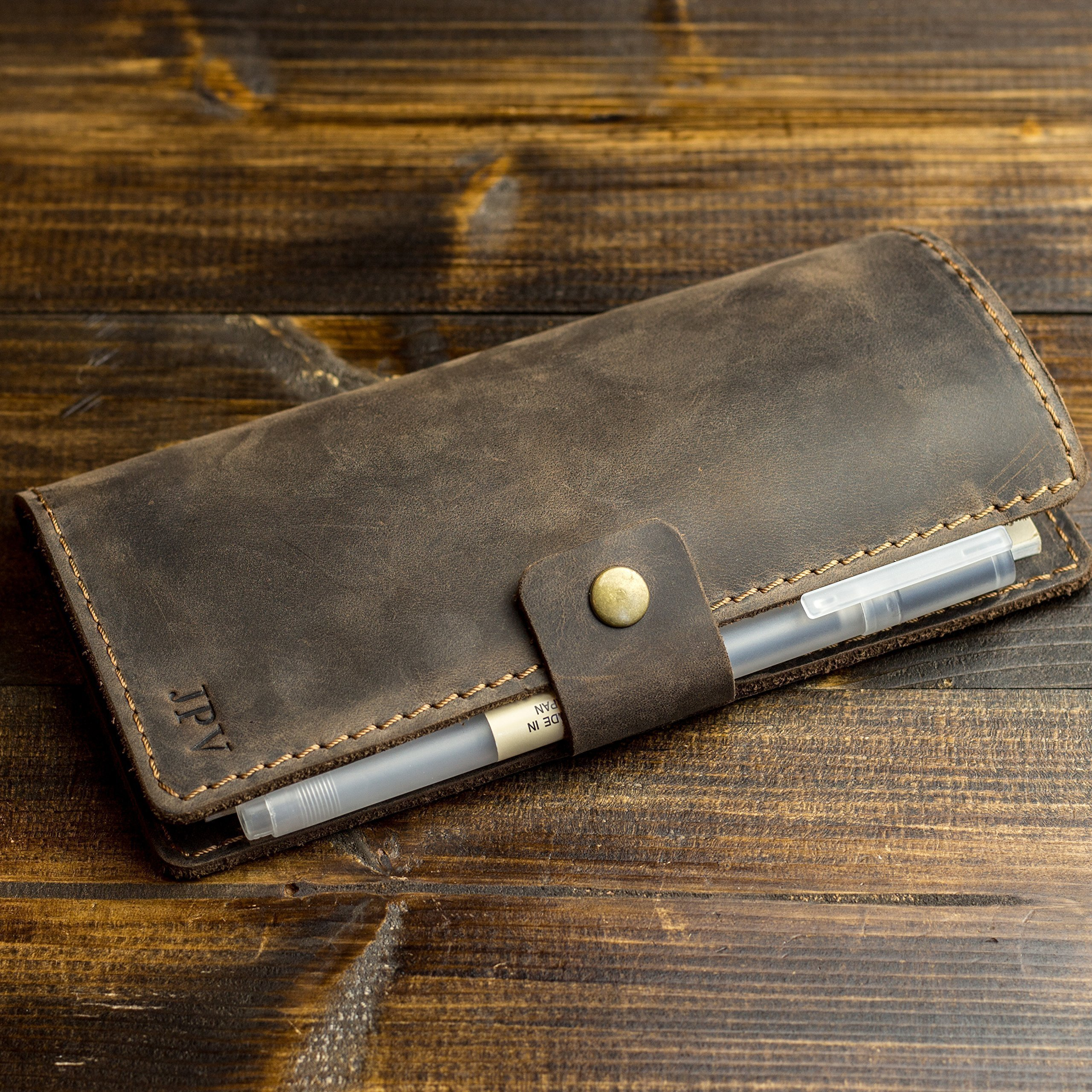 Pegai Personalized Checkbook Cover, Distressed Leather Checkbook Wallet, Checkbook Case - Clark | Chestnut Brown