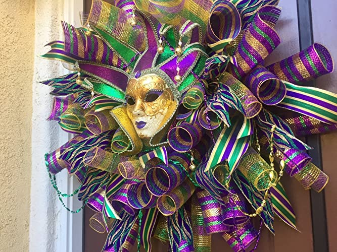 amazon com mardi gras door wreath deco mesh mardi gras wreath fat