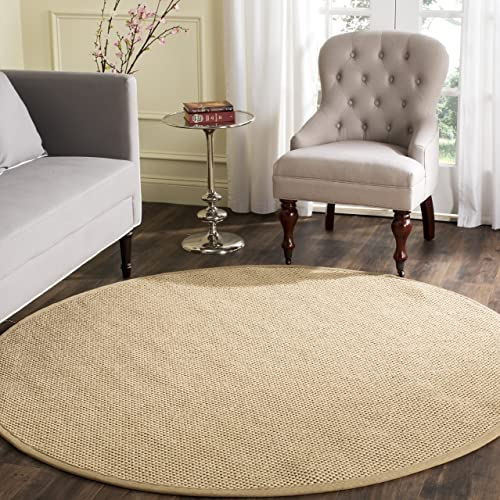 Safavieh Natural Fiber Collection NF141B Tiger Paw Weave Maize and Linen Sisal Round Area Rug 6' Diameter