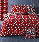 HBS Pixel Bedding Set Double Bed Duvet / Quilt Cover Bedding Set Pixel Squares Reversible Check Bedding Duvet Cover with Pillowcases Red & Grey