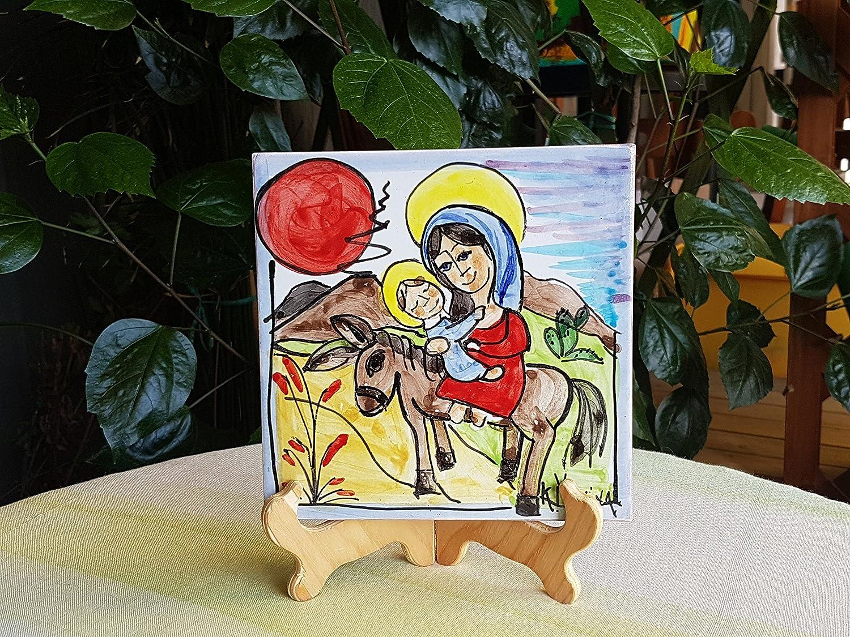 Mattonella in ceramica siciliana dipinta a mano idea regalo di