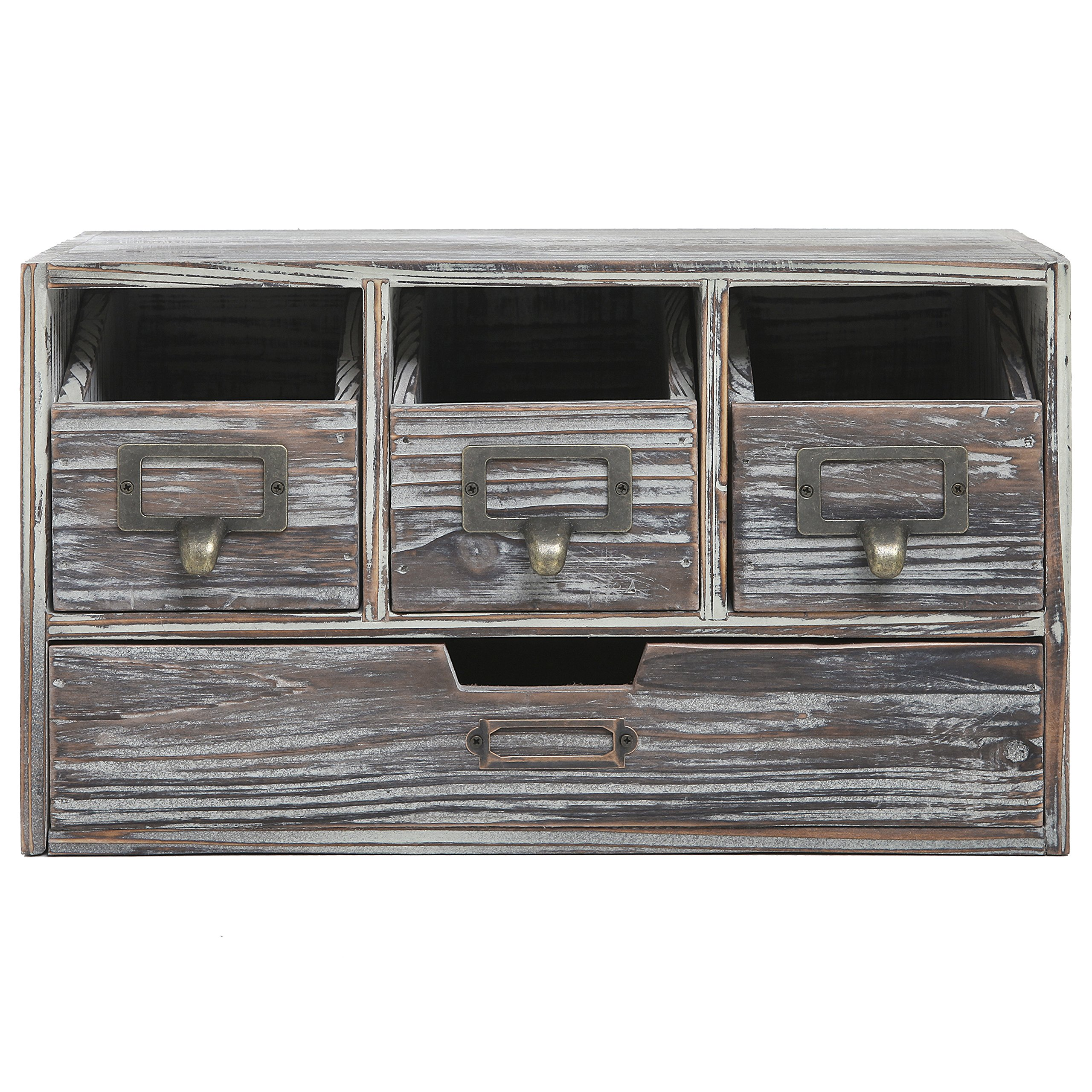 Rustic Brown Torched Wood Finish Desktop Office Organizer Drawers / Craft Supplies Storage Cabinet by MyGift (Image #2)
