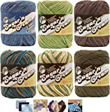 Variety Assortment Lily Sugar'n Cream Yarn 100 Percent Cotton Solids and Ombres (6-Pack) Medium Number 4 Worsted Bundle with 4 Patterns (Asst 37)