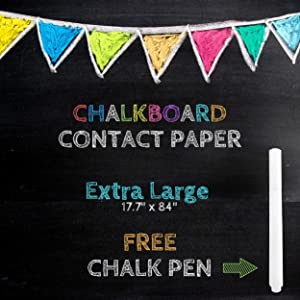 "XL Black Chalkboard Contact Paper - 7 FEET (17.7""W x 84""L) Extra Large Chalk Board Paper Roll Peel & Stick - Removable Self Adhesive Wallpaper Blackboard Wall Decal Sticker - White Chalk Pen Included"