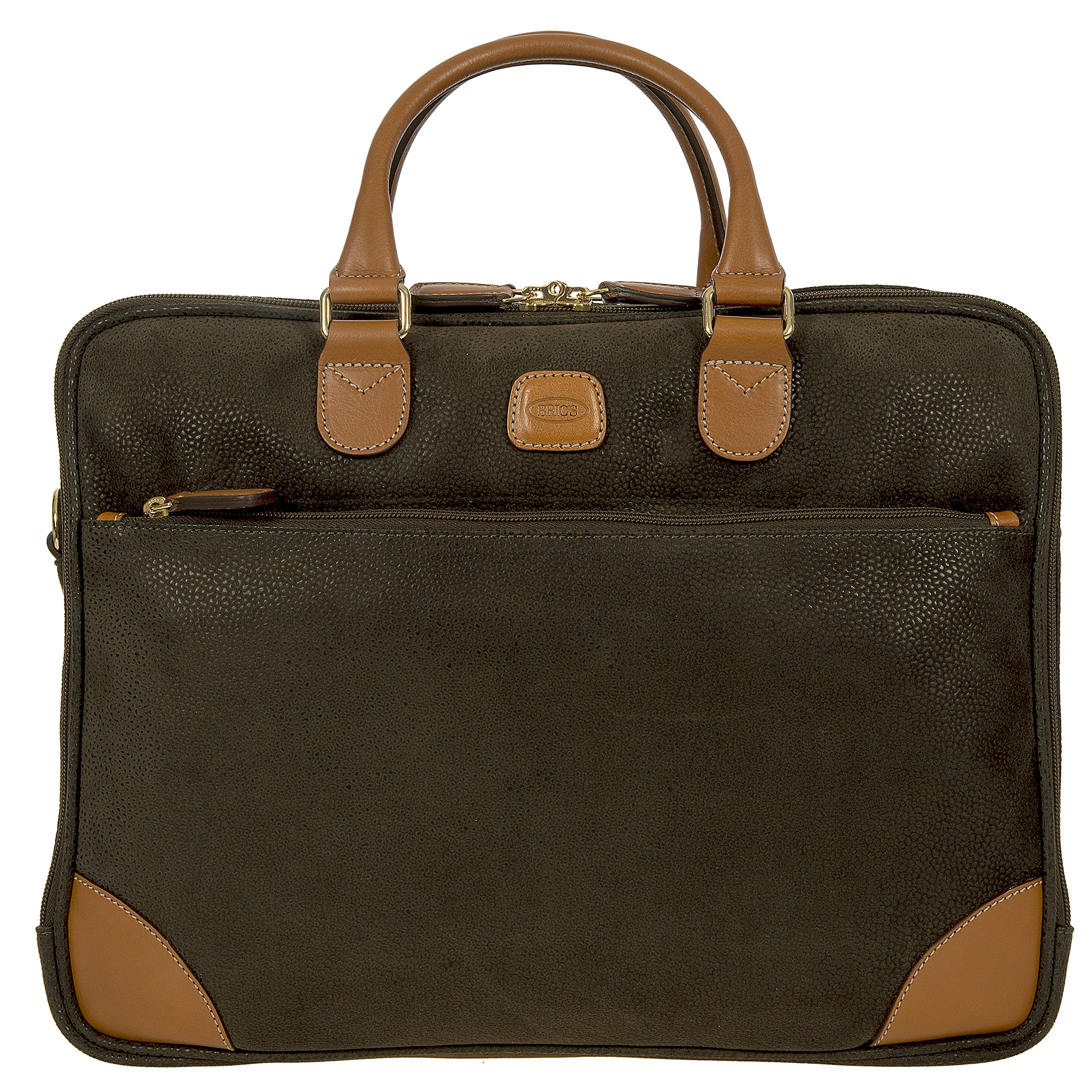 Bric's Life Business Tablet Large Laptop Briefcase, Olive
