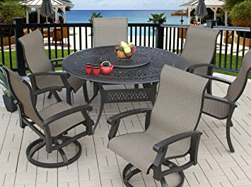 Etonnant Heritage Outdoor Living Cast Aluminum Barbados Sling Outdoor Patio 7pc Dining  Set With 60u0026quot; Round