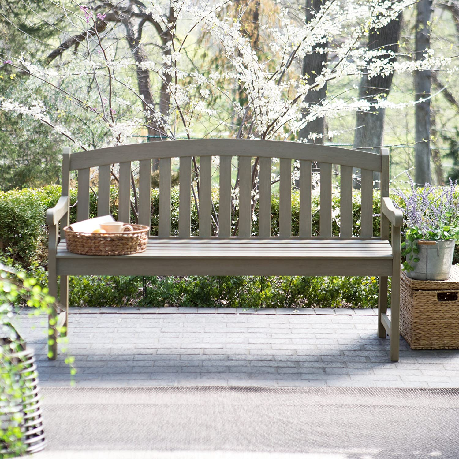 Amazon.com : Coral Coast Amherst Curved Back 5 Ft. Outdoor Wood Garden Bench  Driftwood : Garden U0026 Outdoor