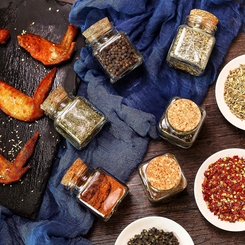 Gewürzgläser Korken mit Etiketten Eckig Kräuter Gewürz Dosen Glas Kork Deckel