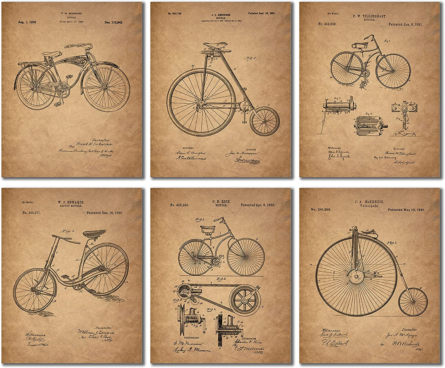 Bike Decor Vintage Bicycle Patent Wall Art Prints Cyclist Cycling Gifts 8x10 Set of 6