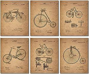 Bicycle Patent Prints - Set of 6 Vintage Bike Decor Wall Art Photos