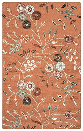 Rizzy Home Eden Harbor Collection Wool Viscose Area Rug, 3 x 5 , Orange Gray Rust Blue Floral