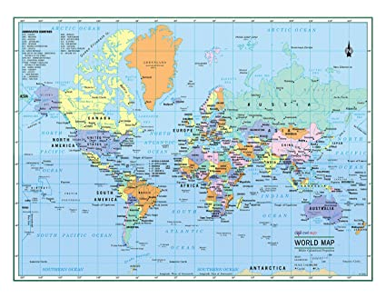 Amazon world wall map political color poster 22x17 large world wall map political color poster 22quotx17quot gumiabroncs Images