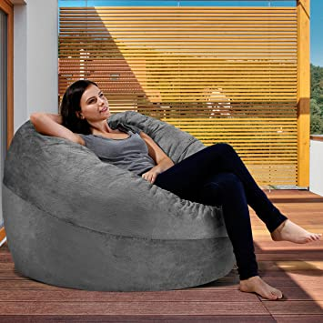 Amazoncom XXL Bean Bag Chair In Steel Grey Big Velour Comfort - Cozy chill bag