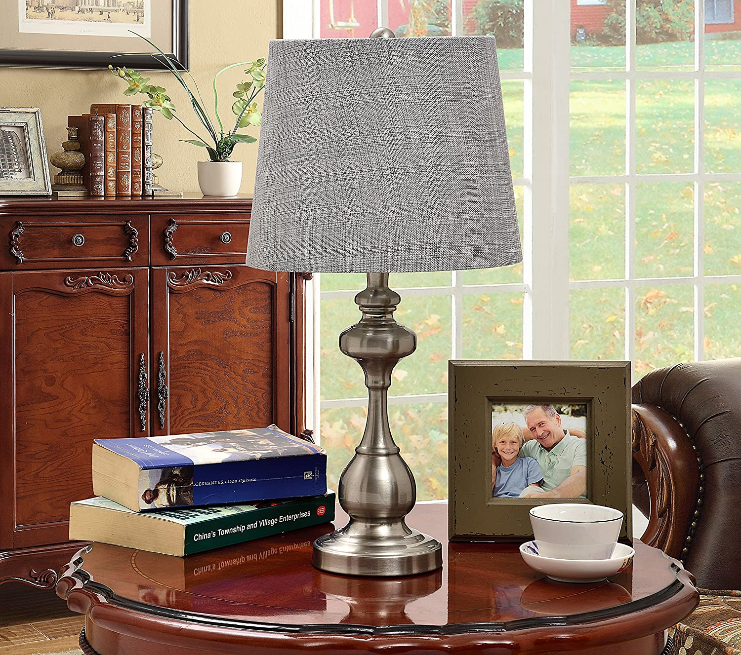 Kings Brand Brushed Nickel Silver Shade Traditional Table Lamp