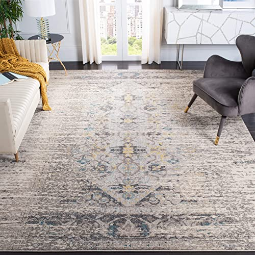 Safavieh Monaco Collection MNC209G Modern Abstract Grey and Multi Distressed Area Rug 10' x 14'