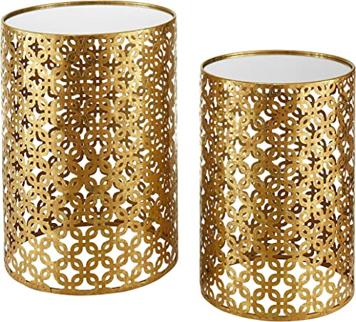 Set of Two Contemporary Round Gold Nested Tables with Mirror Tops OSLN . Glamorous Design and Style in Gold Leaf Finish Nesting Tables. Assembly Required