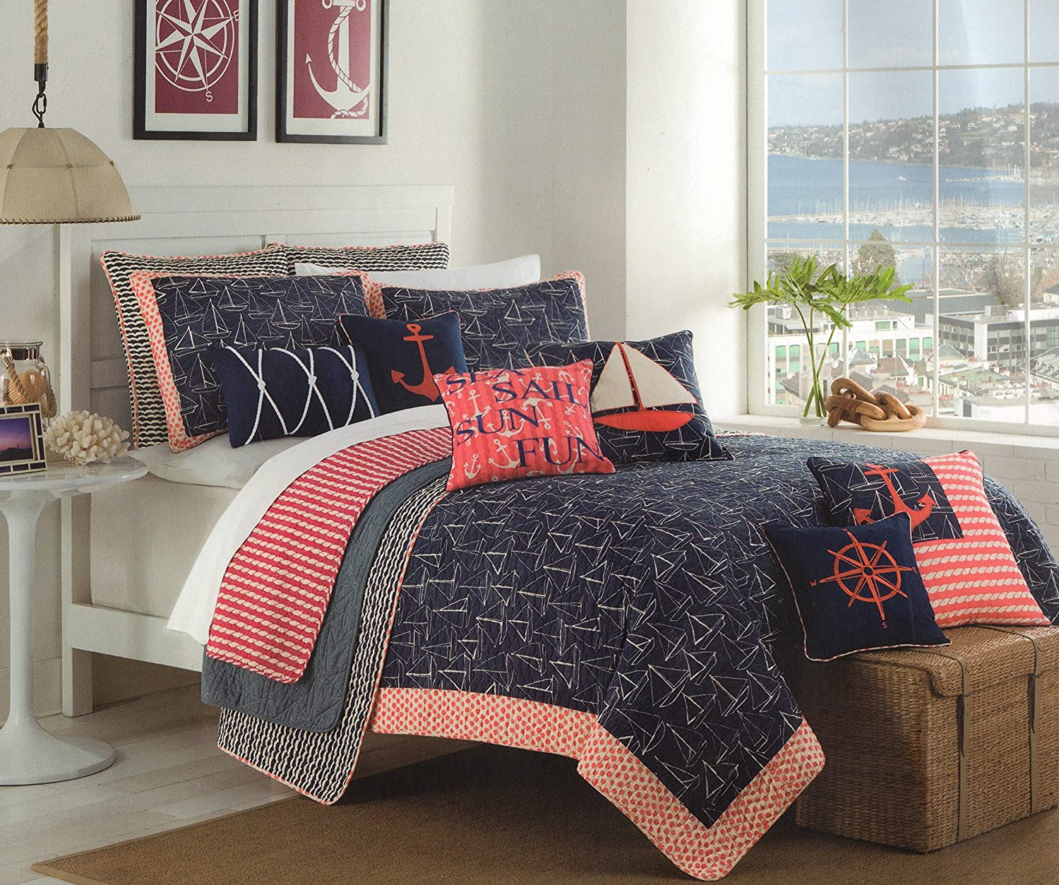 Navy And Coral Bedding Part - 23: Amazon.com: Max Studio Nautical Design Bedspread 3pc Full/Queen Quilt Set  Coverlet Cotton Reversible Quilted Bedding Sail Away, Ship Boat Navy Blue  Coral ...