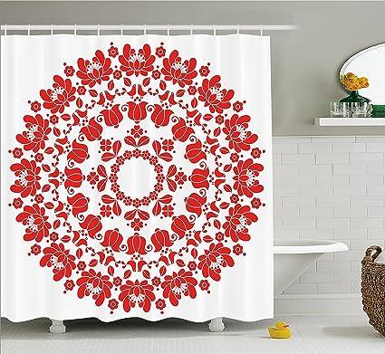 Ambesonne Red Mandala Shower Curtain Hungarian Round Folk Art Pattern Tulips Traditional Kalocsai Old Fashioned