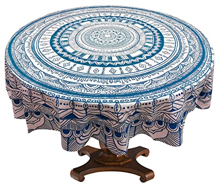 Buy Miyanbazaz Textiles Dining Round Table Cover Cotton Blue - 68 inch dining table