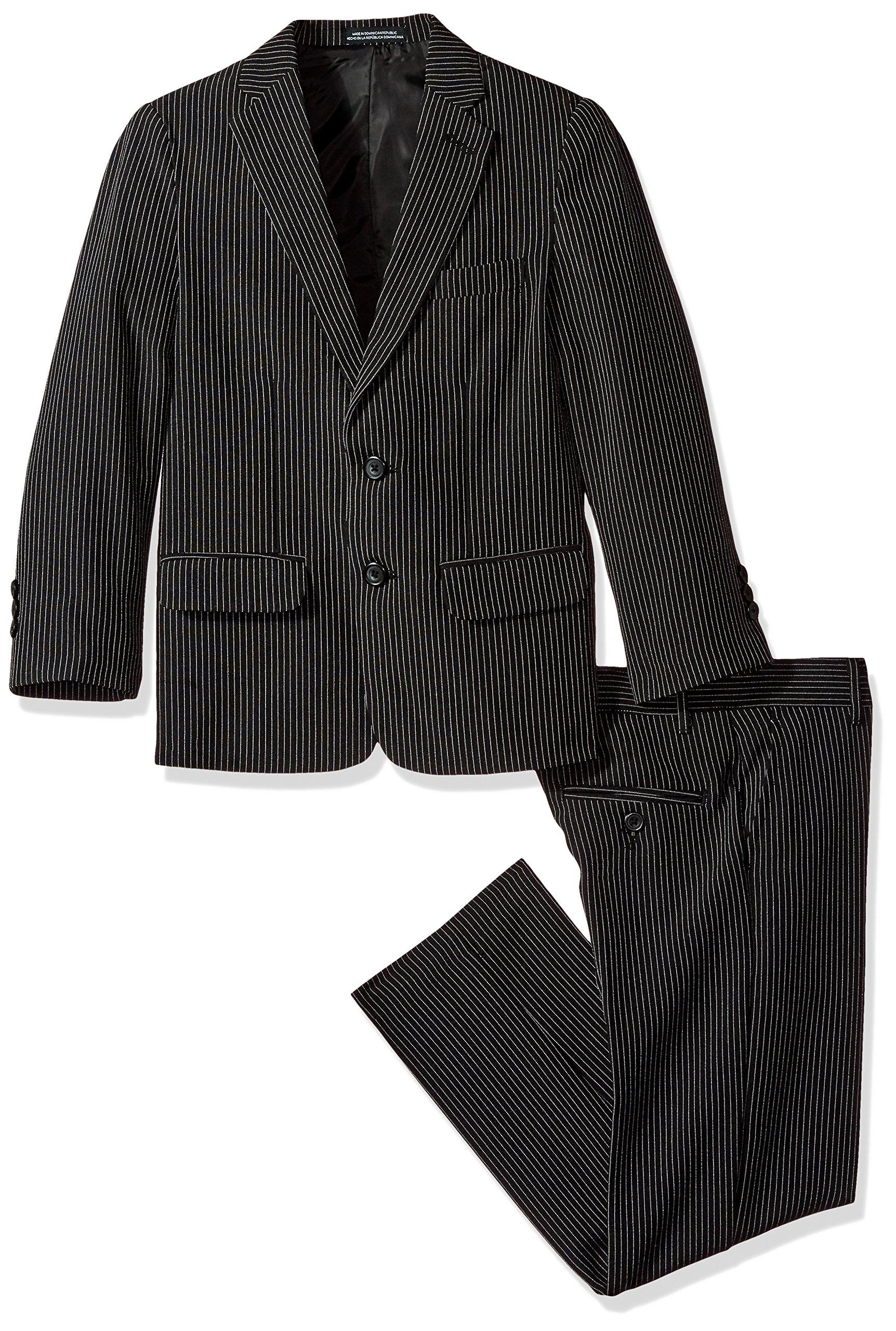 Van Heusen Big Boys' Stripe 2 Pc Suit, Black, 8