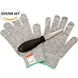 Rockland Guard Oyster Shucking Cut Resistant Glove Set with 3.5-Inch Stainless Steel Knife, Large