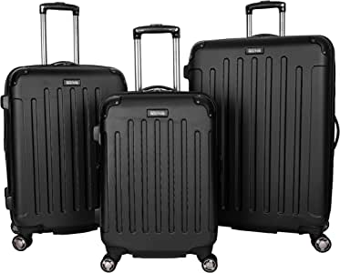 "Kenneth Cole Reaction Renegade 3-Piece Lightweight Hardside Expandable 8-Wheel Spinner Travel Luggage Set, Black, (20""/24""/28"")"