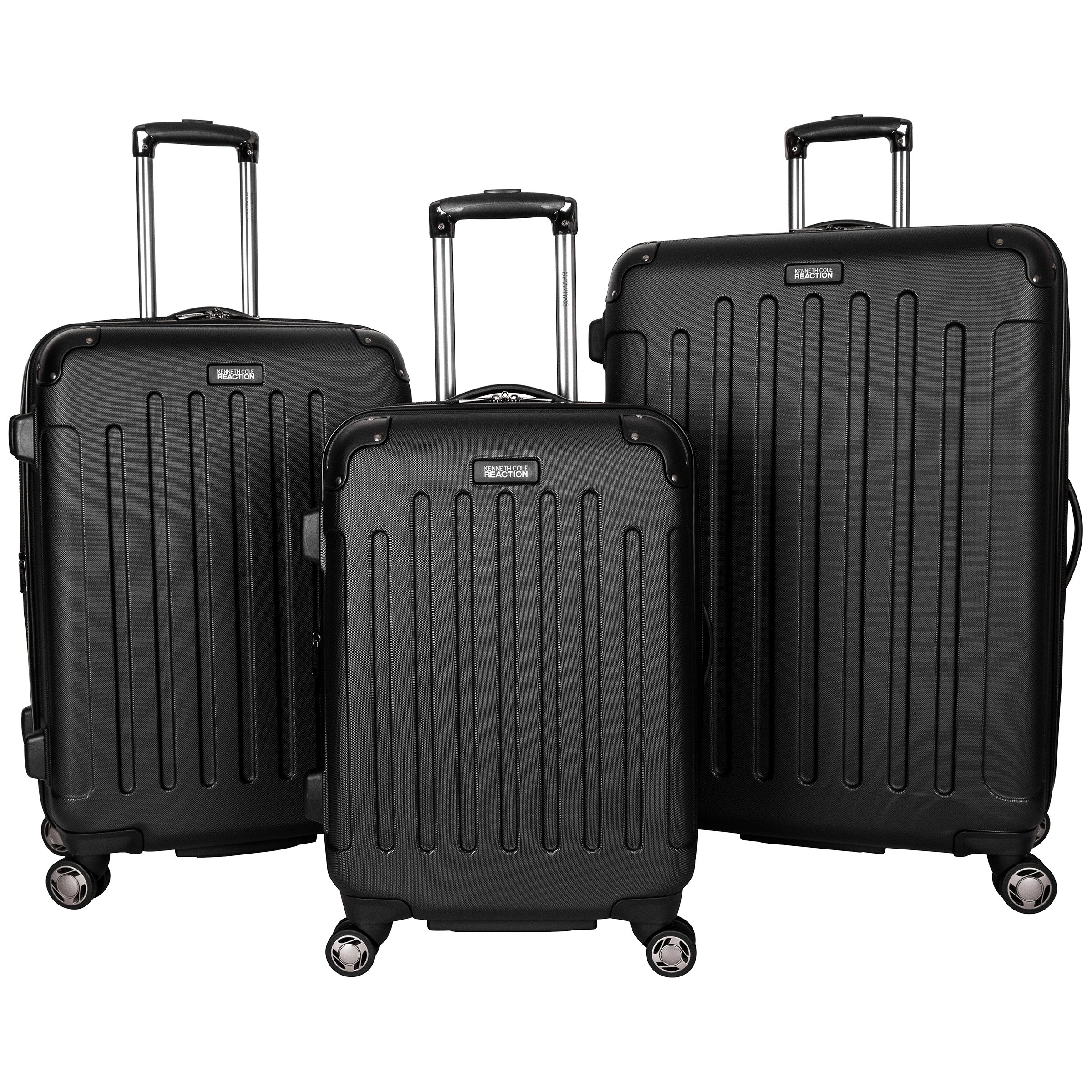 Kenneth Cole Reaction Renegade 8-Wheel Hardside Expandable 3-Piece Set: 20'' Carry-On, 24'', 28'' Luggage, Black