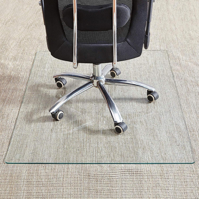 """Tempered Glass Chair Mat, 36""""×46"""", Office Chair Mat Carpet & Hardwood Floor, Chair Mats for Carpeted Floor, Vitrazza Glass Chair Mat, Chair Mat for Hardwood Floor, Desk Chair Mat, 4 Anti-Slip Pads"""