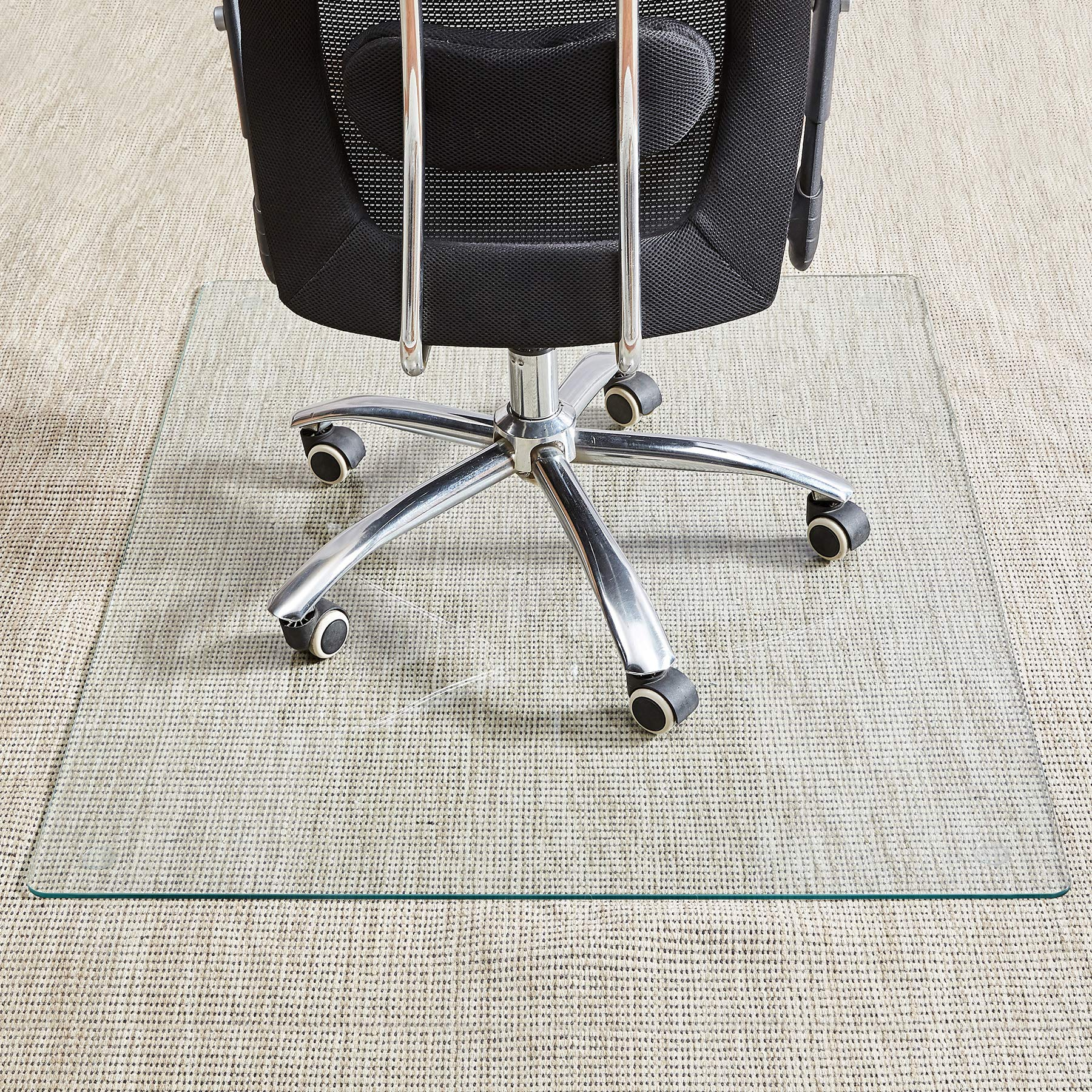 Tempered Glass Chair Mat, 36''×46'', Office Chair Mat Carpet & Hardwood Floor, Chair Mats for Carpeted Floor, Chair Mat for Hardwood Floor, Desk Chair Mat, 4 Anti-Slip Pads by Rose Home Fashion
