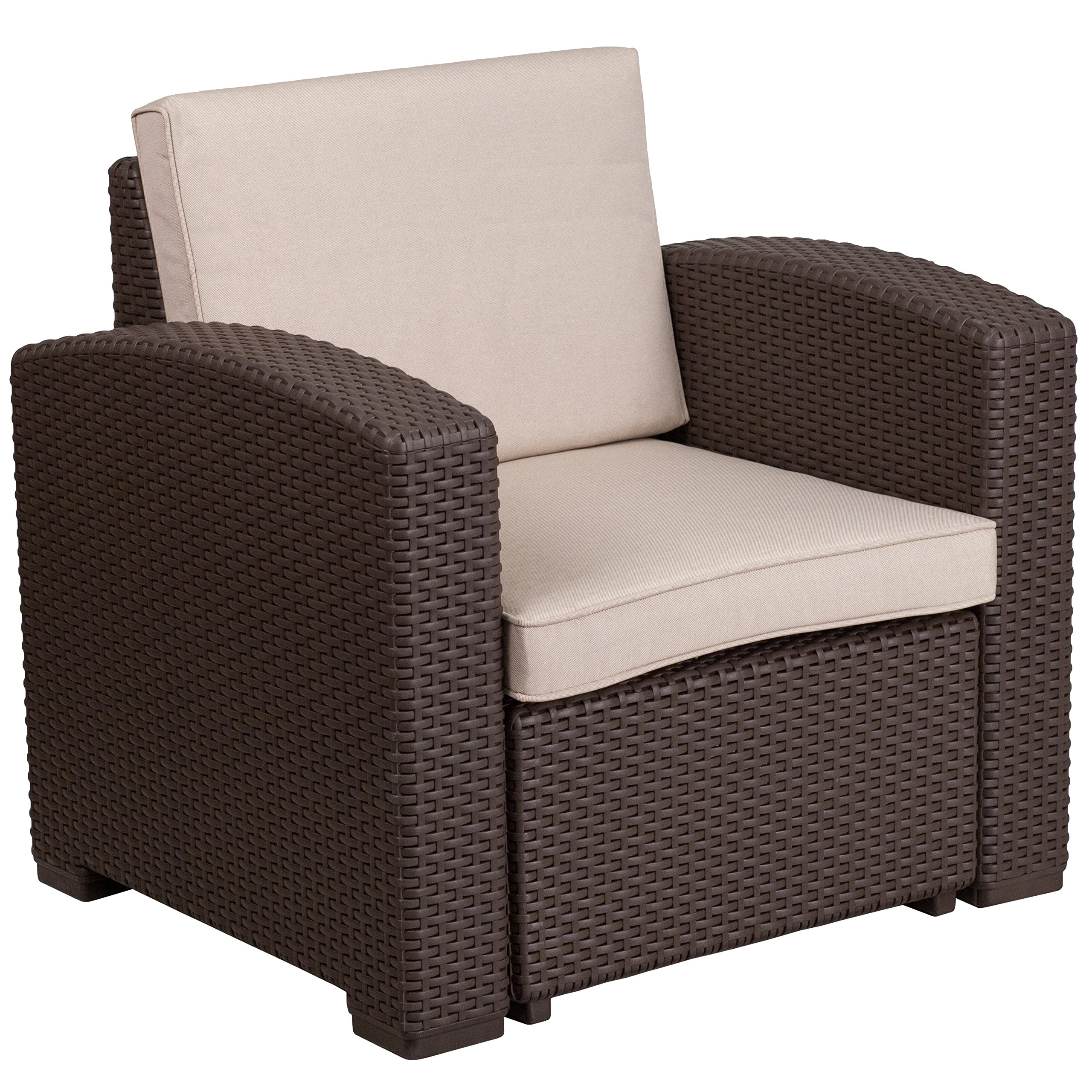 Flash Furniture Chocolate Brown Faux Rattan Chair with All-Weather Beige Cushion by Flash Furniture