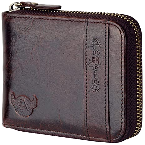 New Christmas Gift Admetus Men Genuine Leather Bifold zipper Wallet With Elegant