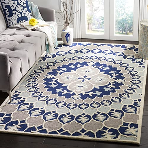 Safavieh Bellagio Collection BLG610C Navy Blue and Ivory Medallion Area Rug 5 x 8
